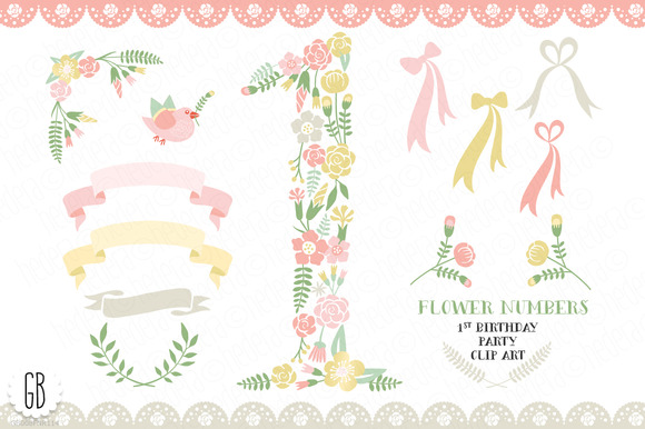 Floral Number 1st Birthday Party
