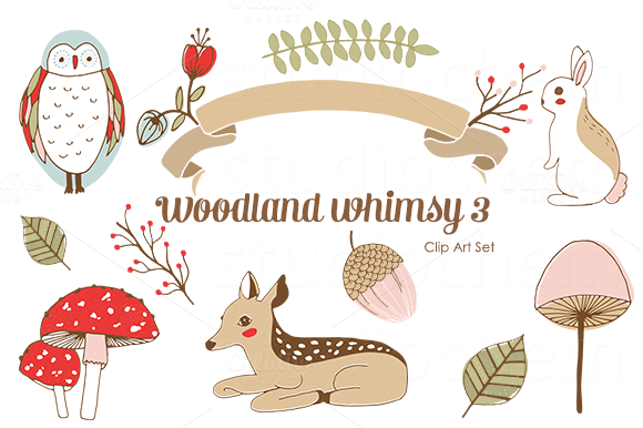 Woodland Whimsy 3 Png Clip Art Set