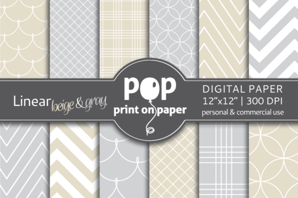 Linear Beige Gray 12 Digital Paper