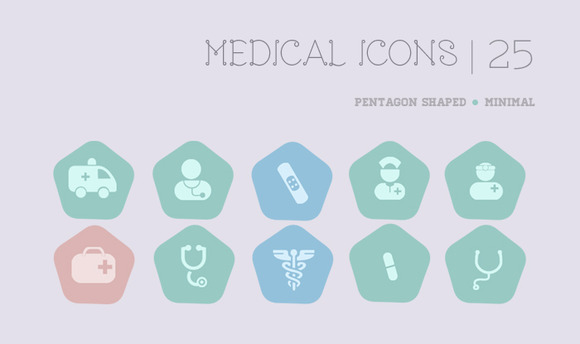 Pentagon Medical Icons Set