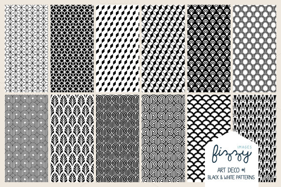 12x EPS JPG Art Deco1 Black Patterns