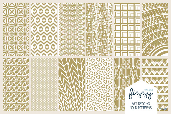 12 X EPS JPG Art Deco3 Gold Patterns