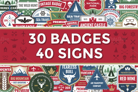 30 Badges 40 Signs