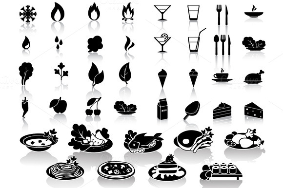 Set Of 40 Food Drink Icons