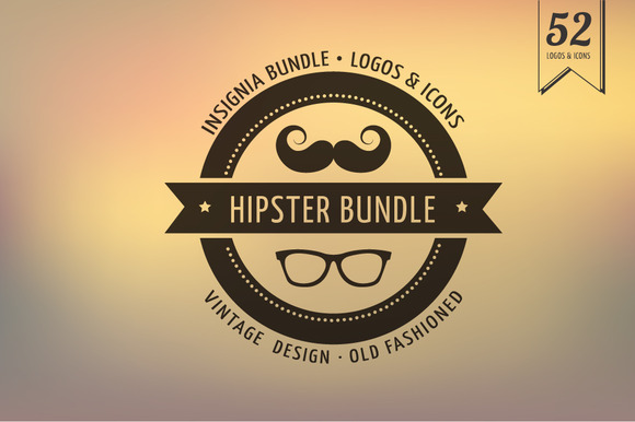 Hipster Icons Badge Insignia