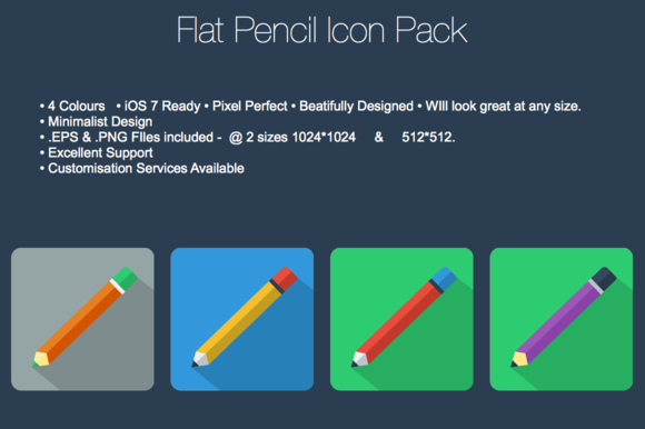 Flat Pencil Icon Pack
