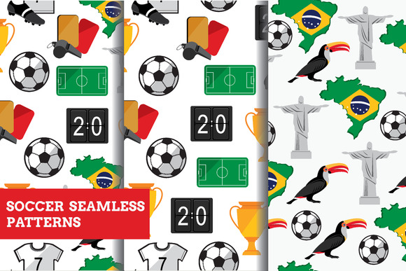3 Seamless Soccer Patterns