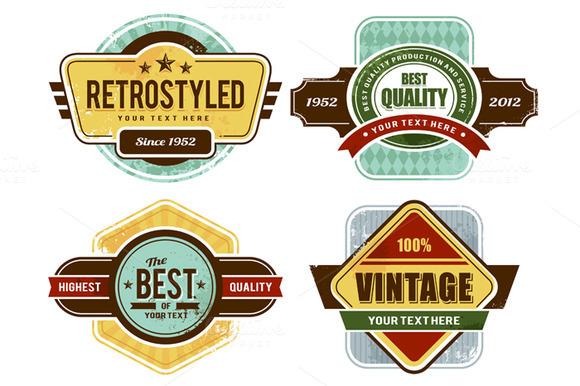 Retro Badges Insignias Set