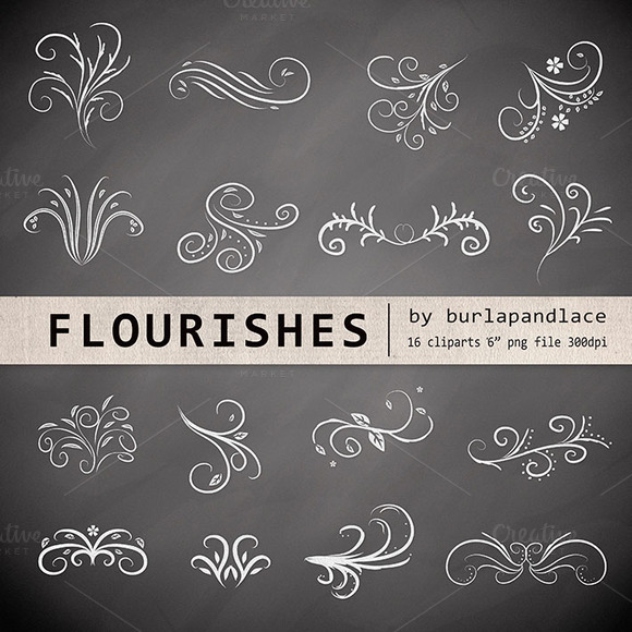 Chalkboard Flourishes Clipart