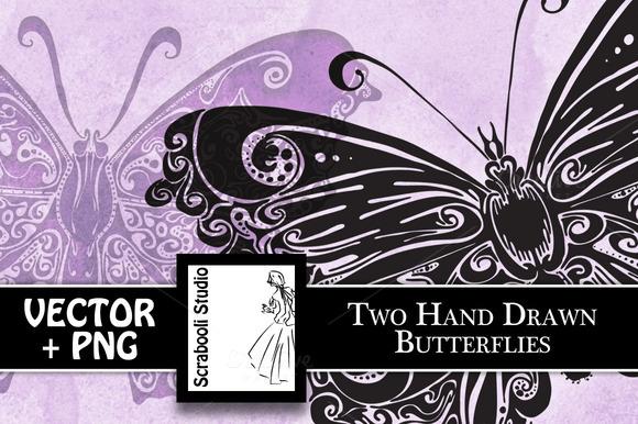 2 Hand Drawn Butterflies