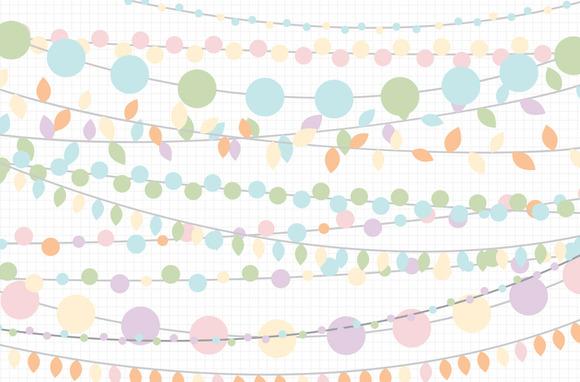 Easter Pastel String Light Clipart