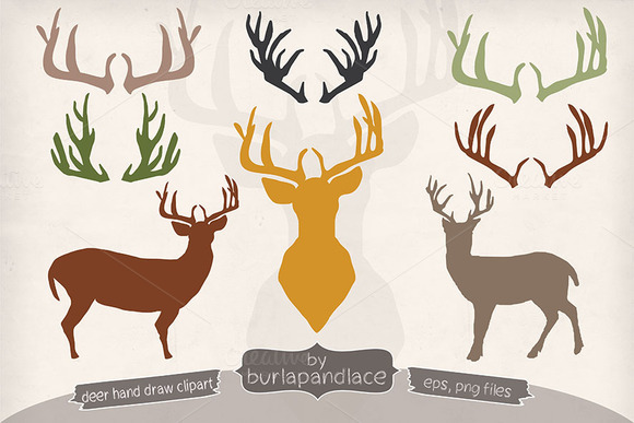 Hand Draw Deer Antlers Clipart
