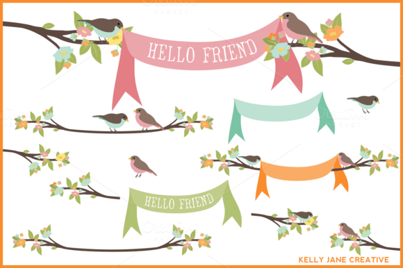 Pastel Birds On Branches W Banners