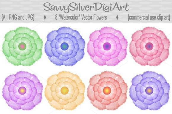 Colorful Watercolor Flower Vectors