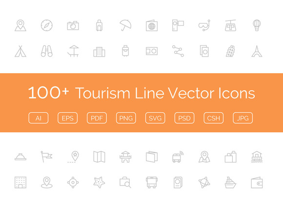 100 Tourism Line Vector Icons