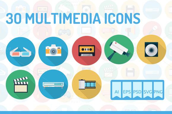 30 Multimedia Icons