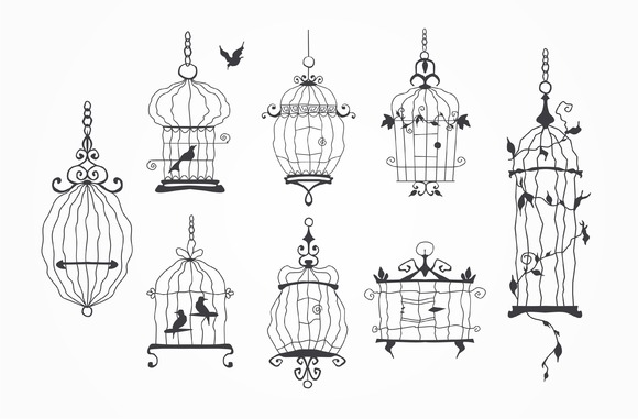 Silhouette Of A Decorative Bird Cage
