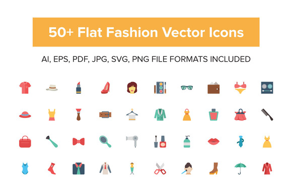50 Flat Fashion Vector Icons