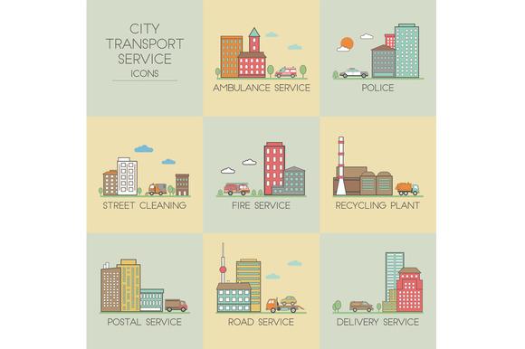 City Transport Service Set Icons