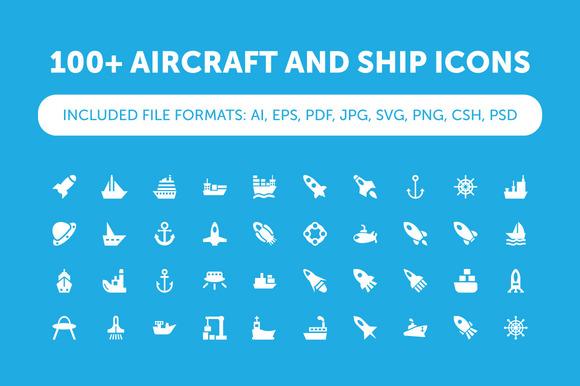 100 Aircraft And Ship Icons