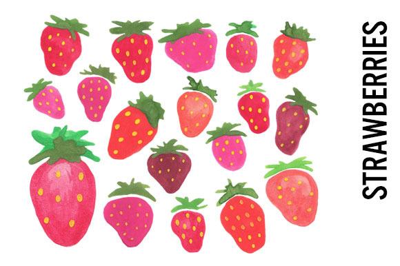 Strawberries Watercolor Clipart