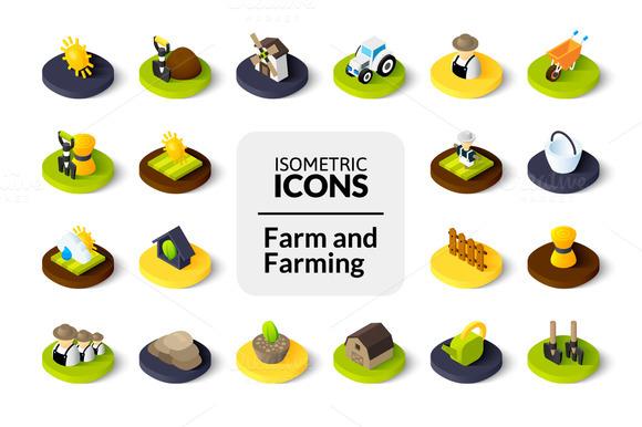 Isometric Icons Farm And Farming