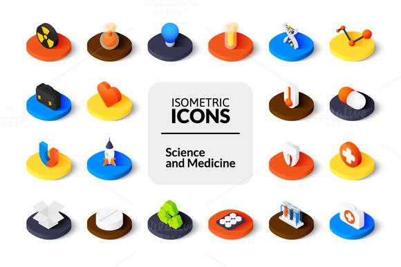 Isometric Icons Science Medicine