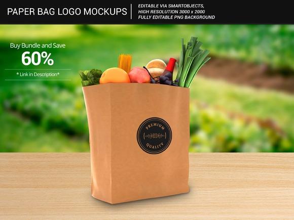 Grocery Paper Bag Logo Mockups 1