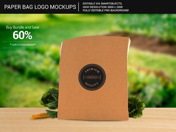 Grocery Paper Bag Logo Mockups 5