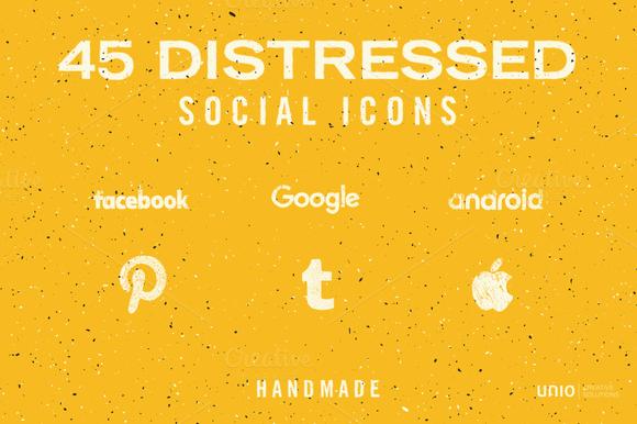 Distressed Social Icons Handmade