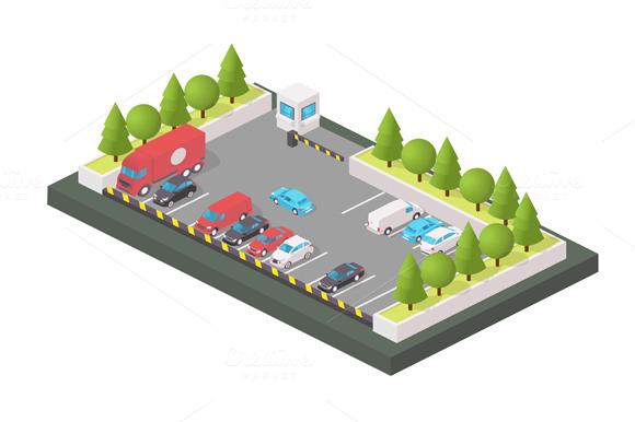 Various Automobiles Trucks Parking