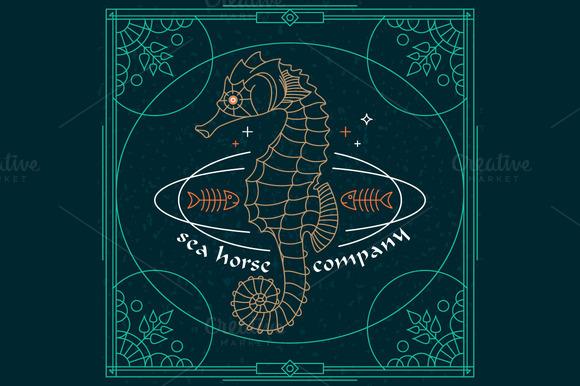 Thin Line Sea Horse Label