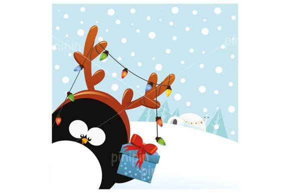 Reindeer Penguin With Gift