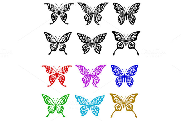Butterfly Set In Colorful And Monoch