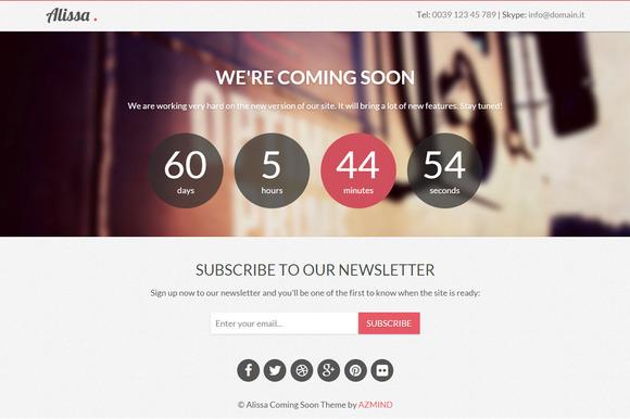 Alissa Coming Soon WordPress Theme