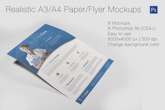Realistic A3 A4 Paper Flyer Mockups