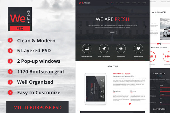 We.Make Bootstrap 3 PSD Template
