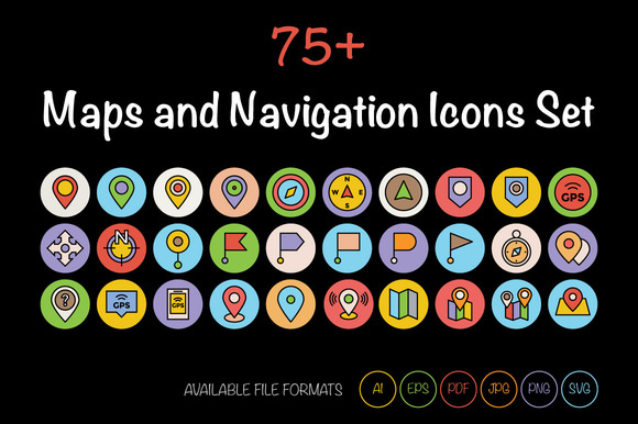 75 Maps And Navigation Icons Set