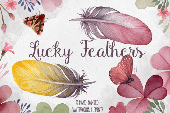 Watercolor Feather Clover Pack