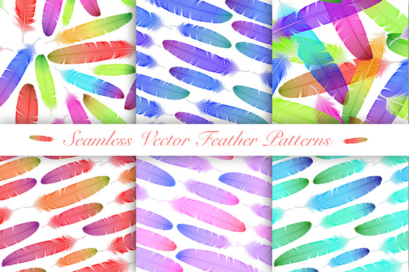 Colorful Feathers Seamless Patterns