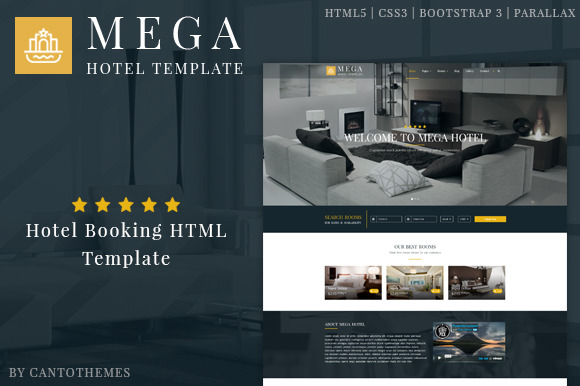 Mega Hotel Booking Bootstrap Theme