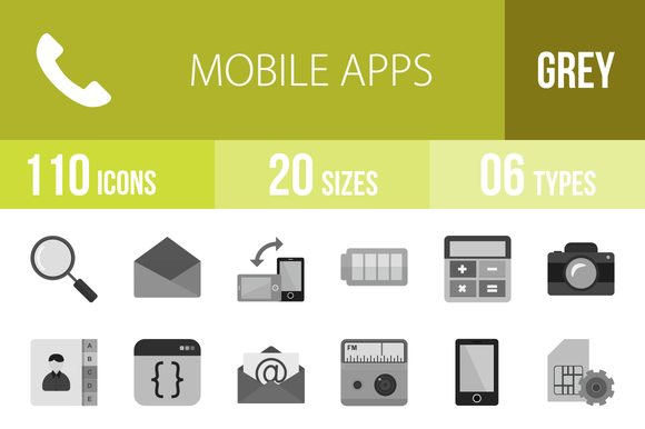 110 Mobile Apps Greyscale Icons