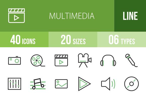 40 Multimedia Green Black Icons