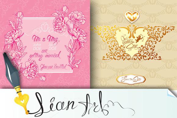 Set Of 2 Wedding Invitation Cards