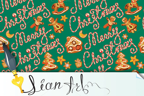 Seamless Pattern With Gingerbread