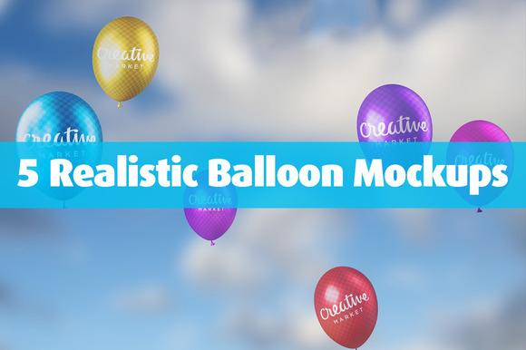 5 Realistic Balloon Mockups