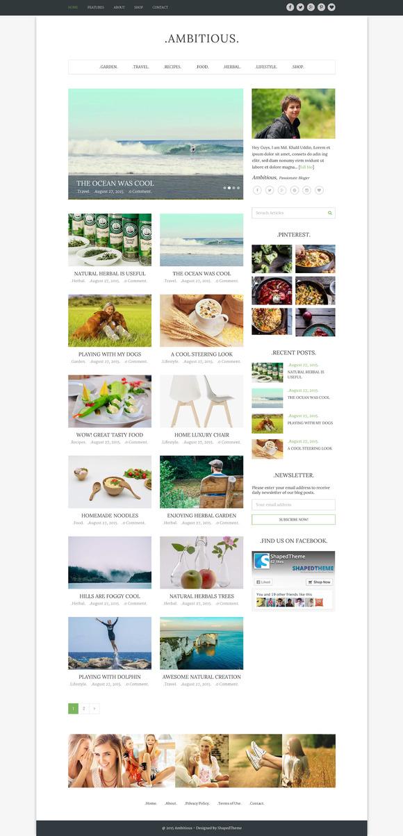 Ambitious-Multi WordPress Blog Theme