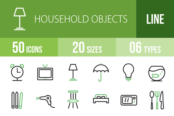 50 Household Objects Green Black
