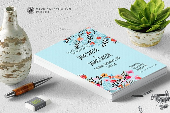 Watercolour Invitation Blue