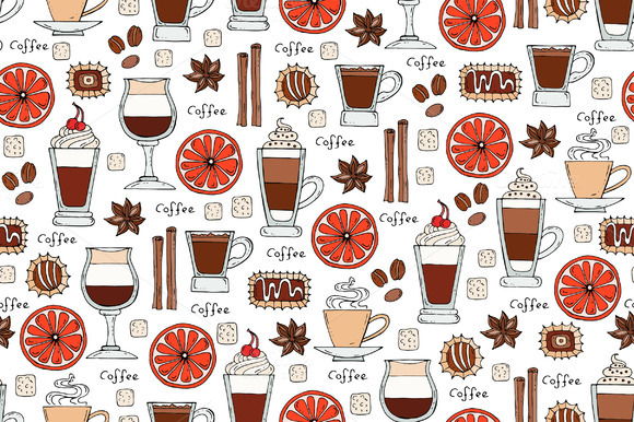 Pattern With Hand Drawn Coffee